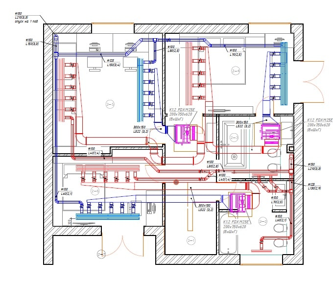 Project drawing of air conditioning of the second floor in a two-stored private house.