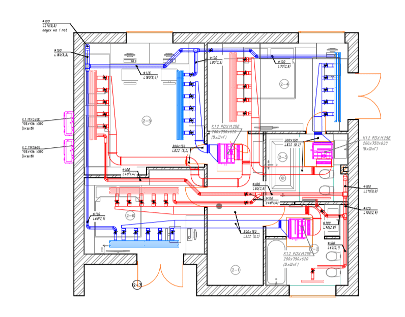 Conditioning project for a two-story house (2nd floor)