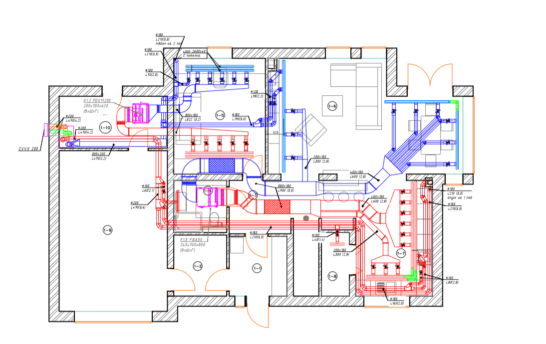 Conditioning project for a two-story house